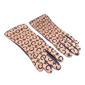 CELINE セリーヌ クラブブラゾン ハラコ 手袋 グローブ レザー ブラウン  オールドセリーヌ vintage ヴィンテージ  Accessories dtek8d