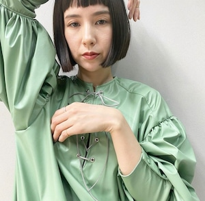 New!! Eco leather Leg of mutton dressミニ丈/ Lace up /Mint (2021 New collection)