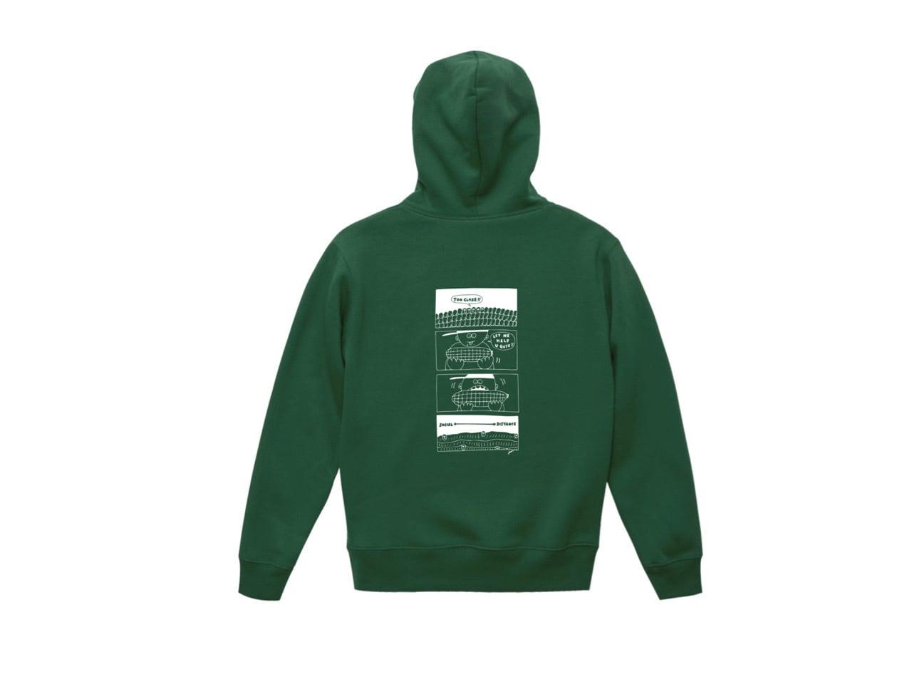 SHI × coguchi Corn SD hoodie (GRN/WH)