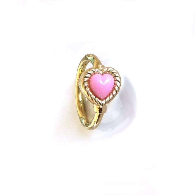 VINTAGE HEART CHARMのsnap RING body jewelry Pink K18YG #0003 ヴィンテージハートリングボディピアス・ピンク/18金イエローゴールド