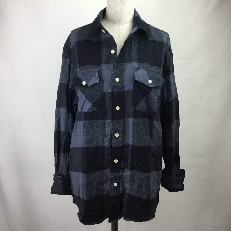 ヴィンテージフランネルブロックチェックシャツ(グレー)