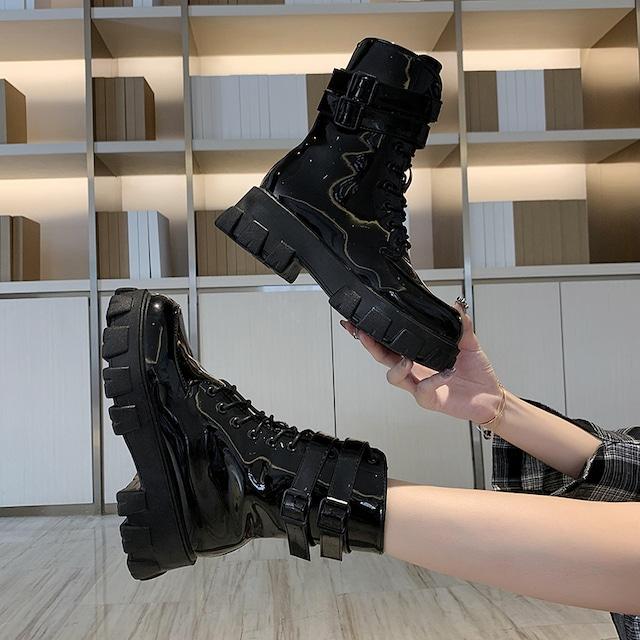 【シューズ】厚底丸トゥエレガントファッションブーツ42908033