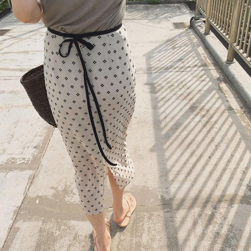 ドットフラワータイトスカート | 花柄 Aラインスカート ロングスカート