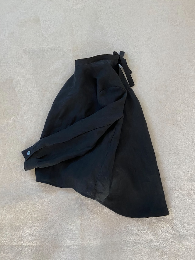 【予約製作】BLACK LINEN SHIRT(RIBBON)