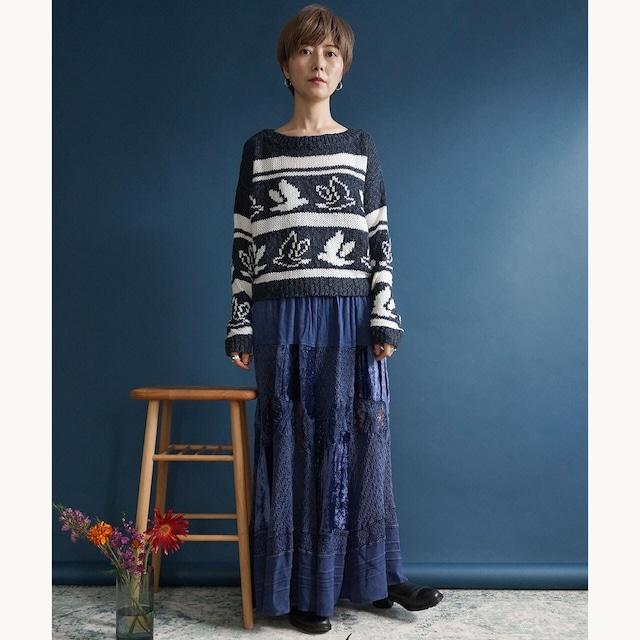 【送料無料】90's  Vintage Blue/White Cropped Knit