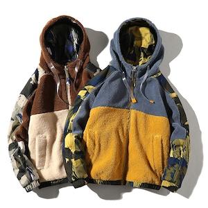 【UNISEX】フリース パーカー ジャケット 迷彩 カモフラージュ【2colors】