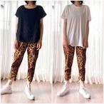 レオパードプリント easy slim-pants