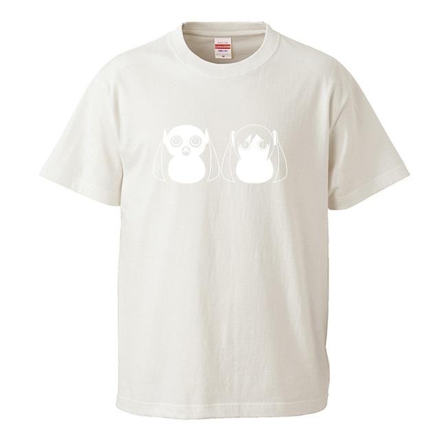 【受注生産再販】ピノキオピー - 八八 -パチパチ-  Tシャツ(バニラホワイト)+ステッカーセット - メイン画像