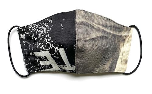 【COTEMER デニムマスク 日本製】BLACK DENIM × PRINT MASK 0519-177
