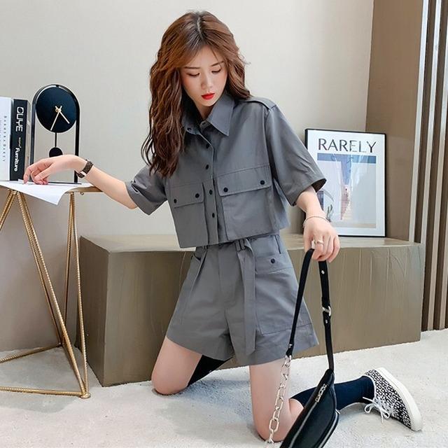 【セット】ファッションカジュアル半袖トップス+ショートパンツ2点セット46622452