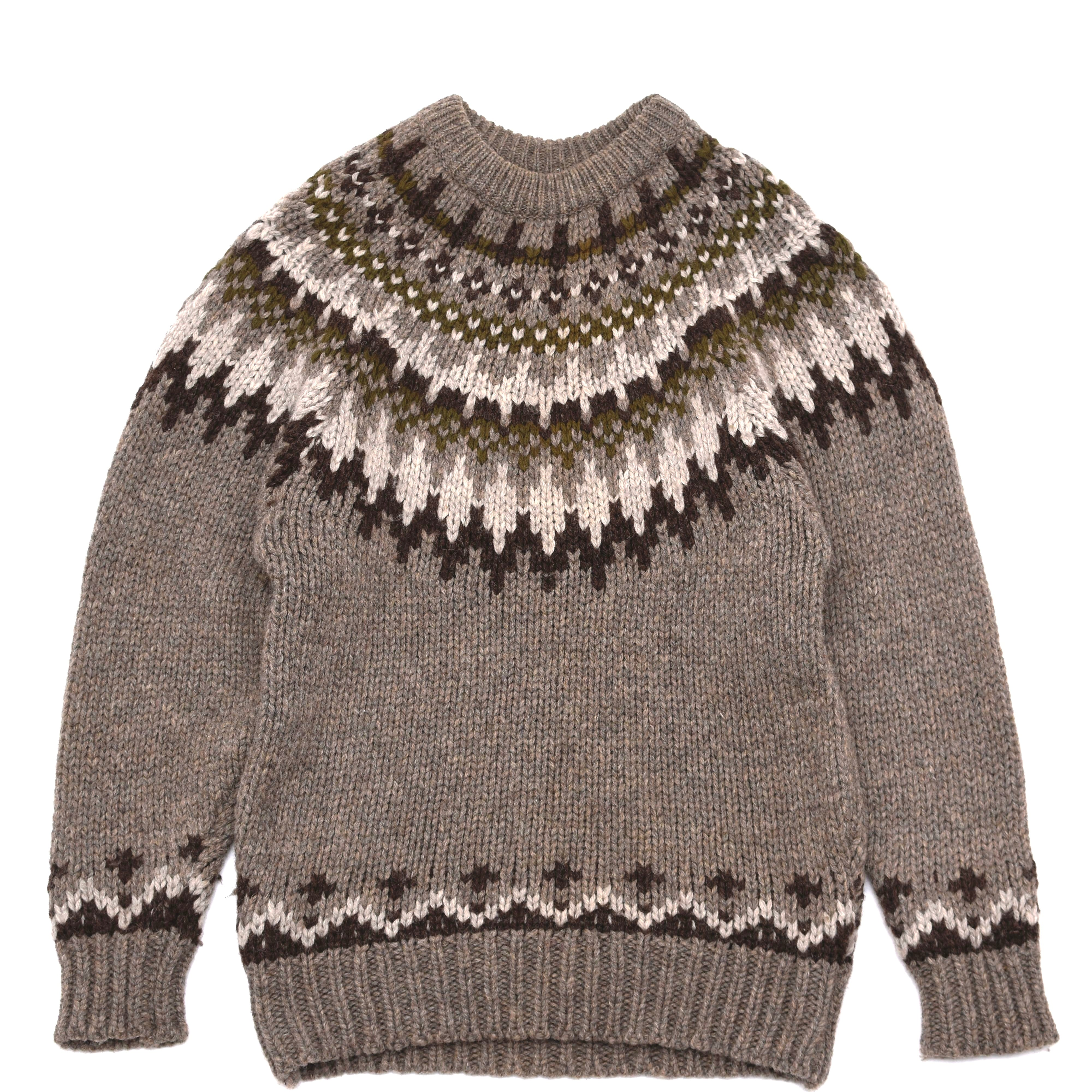 Nordic pattern wool pullover knit