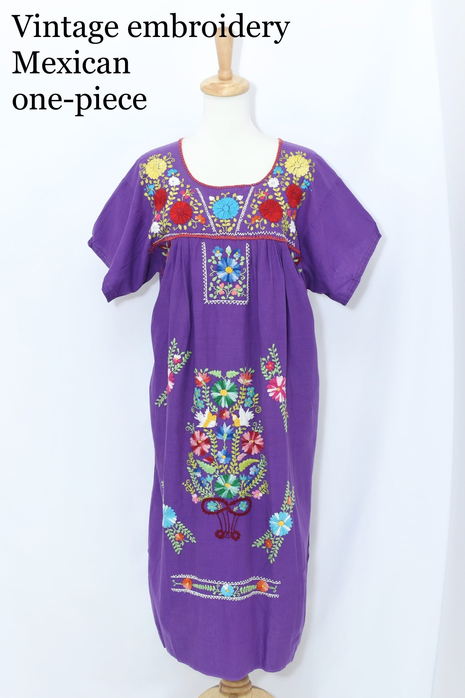 vintage embroidery Mexican one-piece PUR