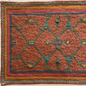 刺繍のカフェマット7 刺子風 南米シピボ族の手刺繍