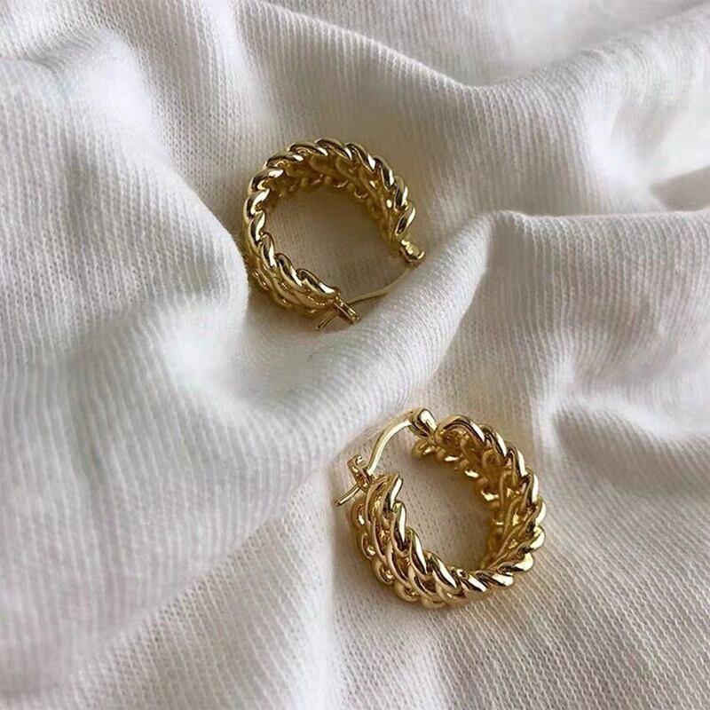 double chain ring gold pierced earrings
