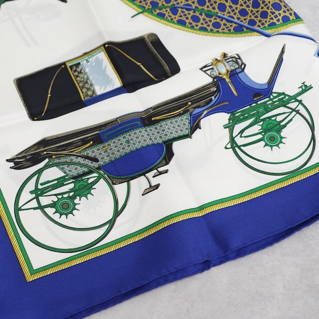 HERMES エルメス カレ 90 「折りたたみ式幌馬車」 スカーフ ブルー シルク アクセサリー 小物
