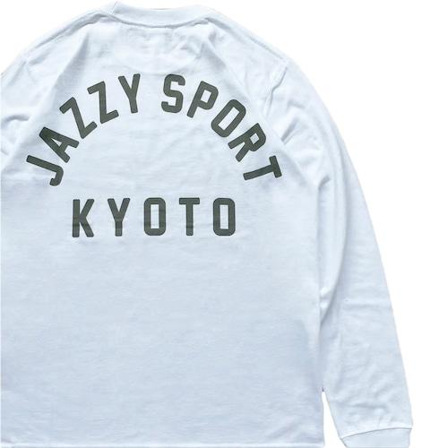 "JS ""Kyoto カレッジ ロゴ"" ロングスリーブ Tシャツ/ホワイト × アイミルチャ"