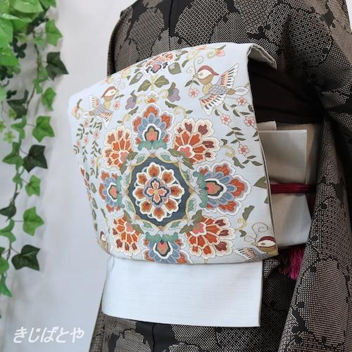 正絹 月白に花鳥の袋帯