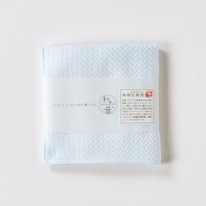 わた音ハンカチーフ/ヘリンボーン織り/白青(シラアオ)1-65608-86-B