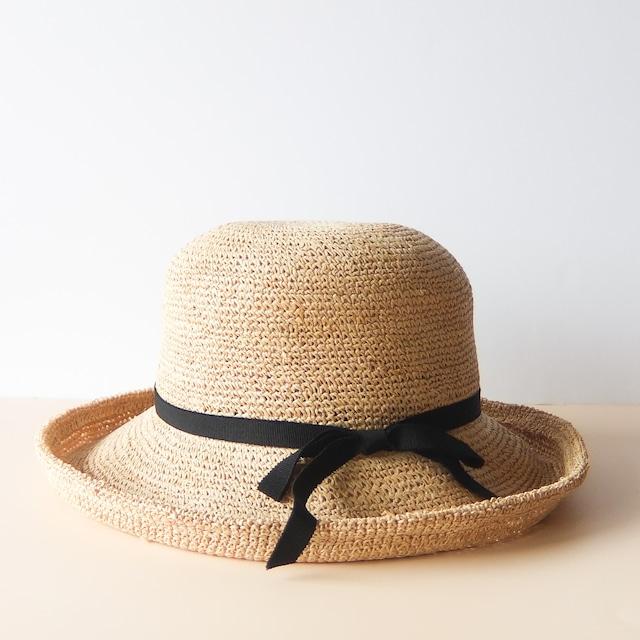 石田製帽 - ラフィア糸入りかぎ編み セーラーハット - Natural