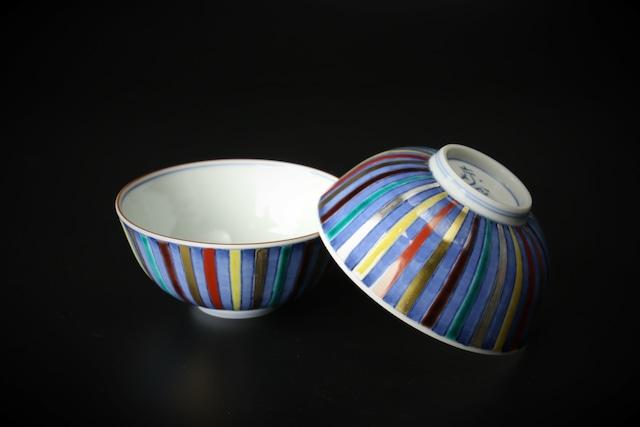 染付色彩十草飯碗 清水焼