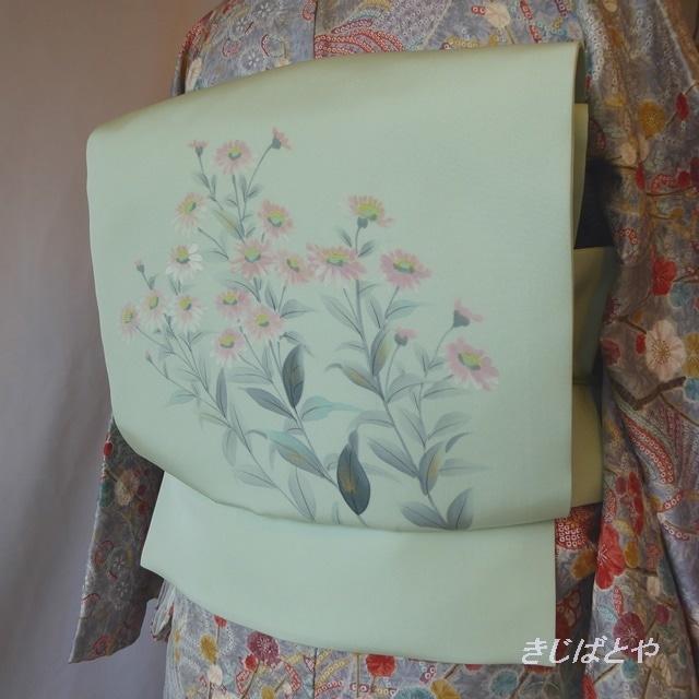 正絹紬 白茶(しろちゃ)に花のなごや