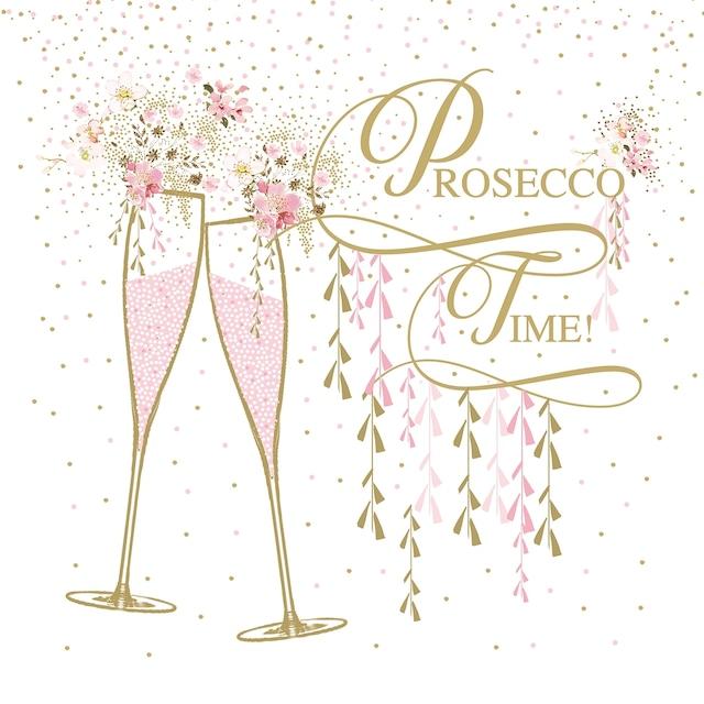 【Paperproducts Design】バラ売り2枚 ランチサイズ ペーパーナプキン Prosecco Time ホワイト