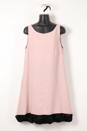 裾ブラック薔薇モチーフワンピース【ピンク】