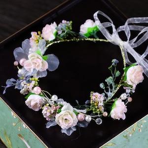髪飾り フラワー ヘアアクセサリー ヘッドドレス ヘッドフラワー 花冠 ガーランド ブライダル カチューシャ 結婚式ウェディング5506