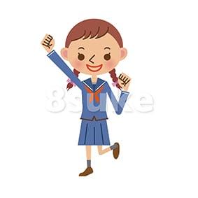 イラスト素材:ガッツポーズをするセーラー服姿の女子中学生・高校生(ベクター・JPG)
