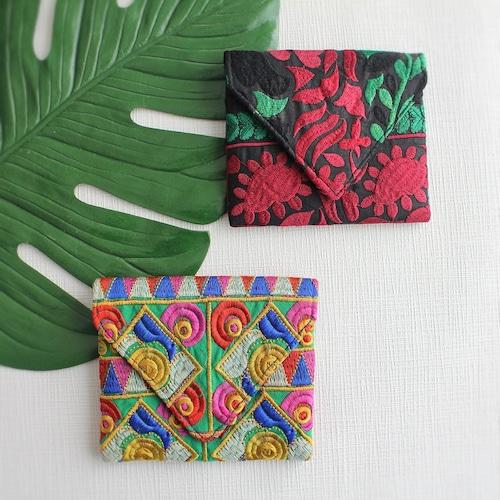 カッチ刺繍 ミニポーチ カラフル 【フェアトレード商品】【アップサイクル商品】