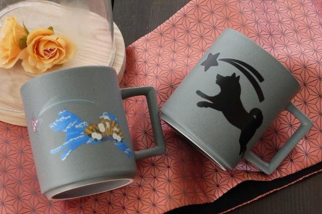 『温感マグ』『柴犬 』 『クールグレー』 * 温度をデザインに 温感マグ カワイイ 犬好き マグカップ 贈り物 プレゼント