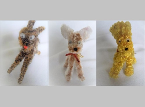 古い玩具 昭和レトロなモール人形 可愛い3匹