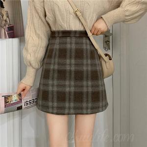 【ボトムス】レトロ膝上チェック柄ハイウエストAラインスカート52983382