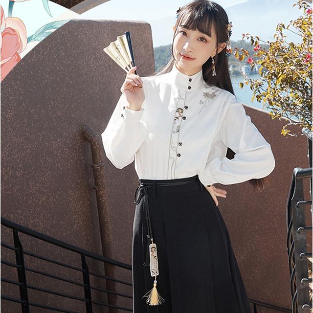 【十三余シリーズ】★チャイナ風シャツ★ トップス 刺繍 オリジナル 合わせやすい XS S M L XL ホワイト 白い