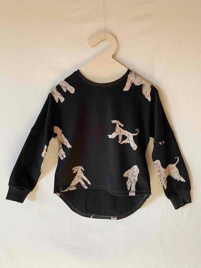 【予約】folk made afghan hound long-shirt S.M.Lサイズ (black print) F20AW-005※メール便送料無料