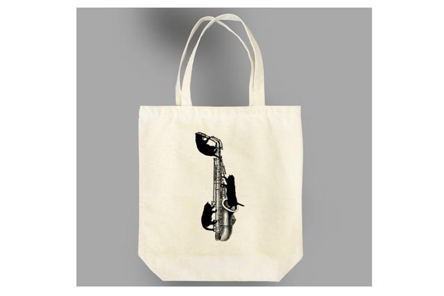 アルトサックス黒猫のトートバッグ
