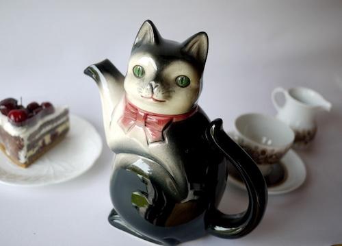 黒白猫ティーポット Erphila社 ドイツ製ビンテージ陶器