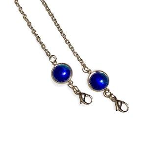紺青釉薬 マスクチェーン(メガネチェーン用の金具付き)