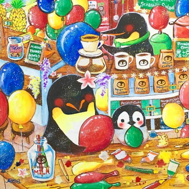 絵画 絵 ピクチャー 縁起画 モダン シェアハウス アートパネル アート art 14cm×14cm 一人暮らし 送料無料 インテリア 雑貨 壁掛け 置物 おしゃれ イラスト ペンギン ぺんぎん アニマル 風船 ふうせん フウセン 動物 ロココロ 画家 : 高井 りさ 作品 : ペンギンが空飛ぶ方法を知ってる?