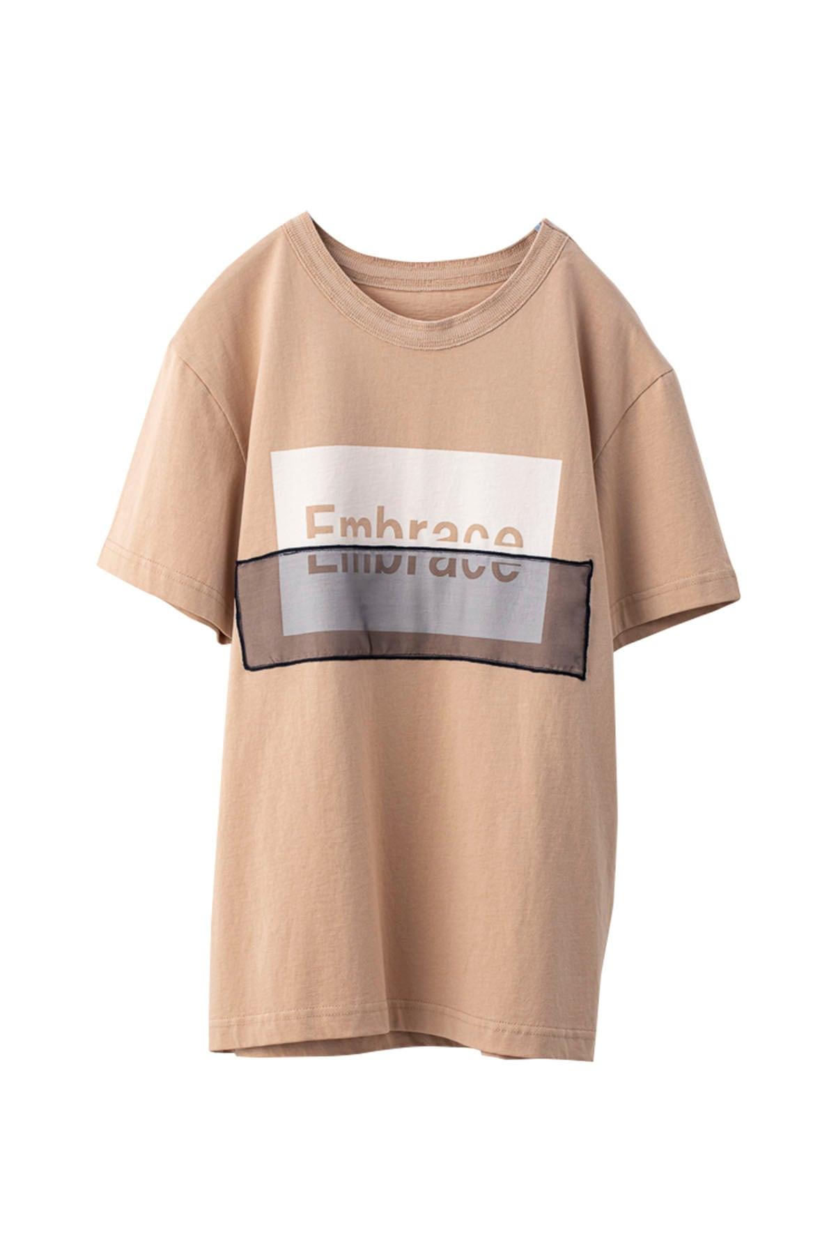 オーガンジーロゴコンビTシャツ < サーモンピンク >