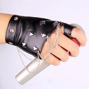 レザー手袋 革手袋 半手袋 レディース メンズ 男女兼用 パンク スタッズ 黒 演出 ダンス用 ステージ衣装5111