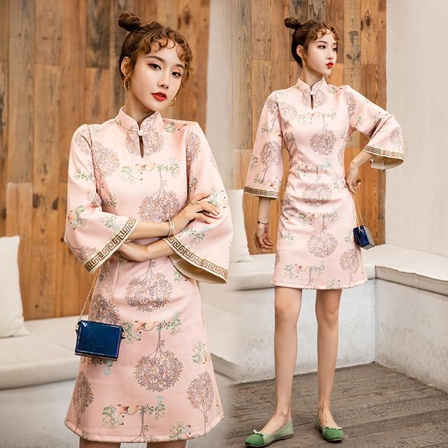 【吾家有衣シリーズ】人気新入荷 チャイナドレス 特別なデザイン ピンク スウィート S M L LL 激安