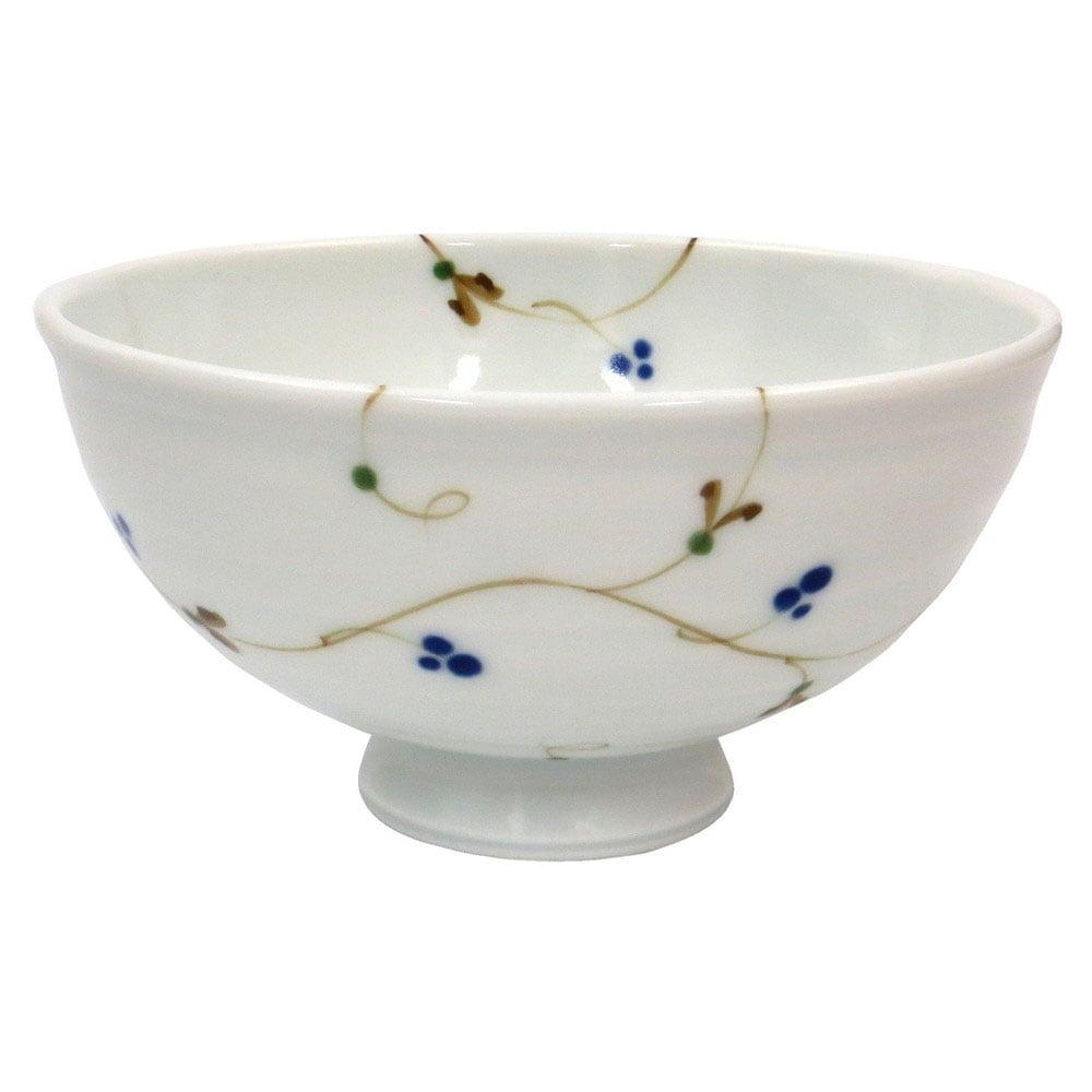 波佐見焼 感器工房 一誠陶器 ふわり 軽量 飯碗 茶碗 大 約12cm 木の実唐草 23444