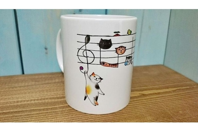 【即日出荷用】五線譜ネコのマグカップ