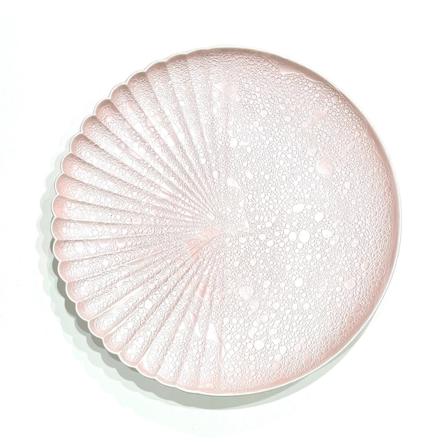 泡化粧 ピーチパール 片菊彫22cmプレート