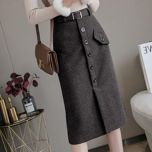 2色/ミディ丈ウールボタンスカート ・19305