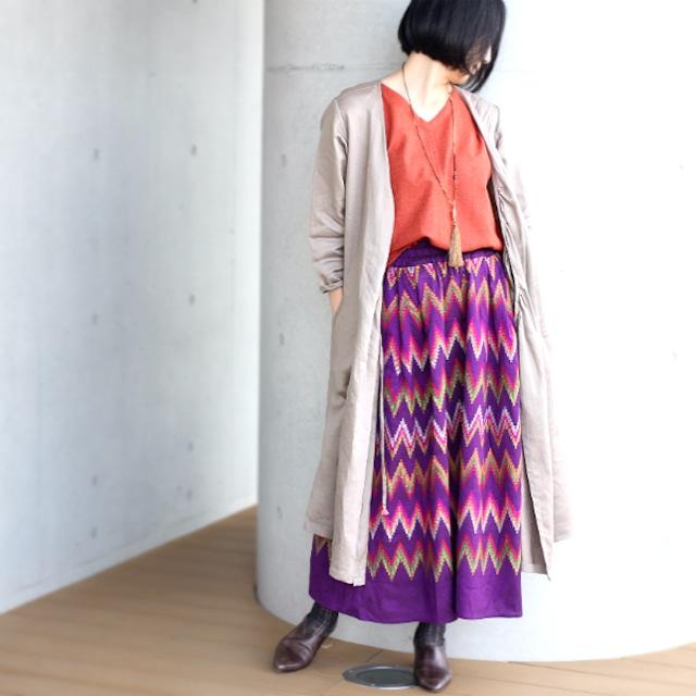 ミャンマーの手織り綿ギャザースカート【マンダレー】