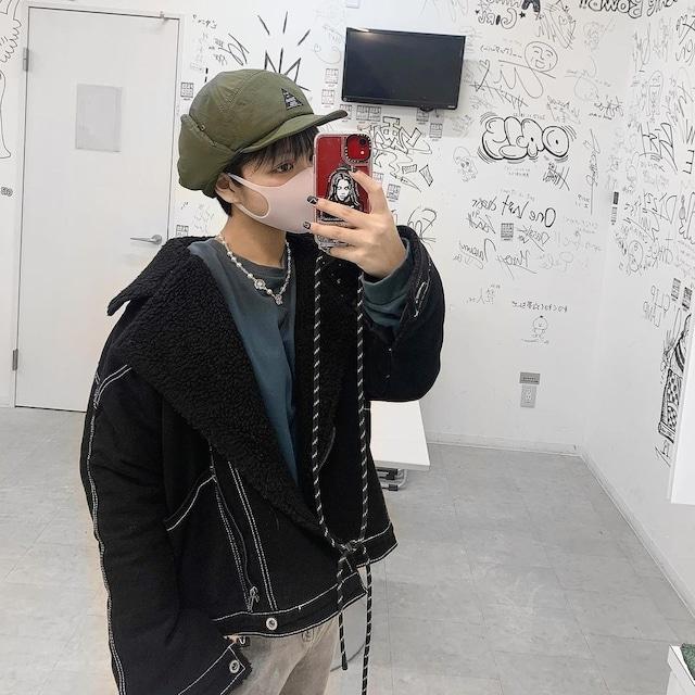 《即納》ステッチデザイン・ブラックデニムジャケット【MIRIさん着用】