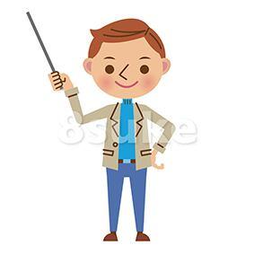 イラスト素材:指し棒を使って解説・プレゼンする男性(ベクター・JPG)
