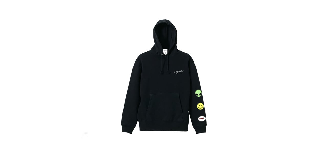 coguchi happy graphic hoodie (BLK)